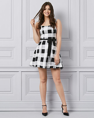 Le Château Gingham Sateen & Tulle Fit & Flare Party Dress