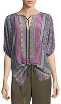 Trina Turk Split-Neck Printed Tunic Top