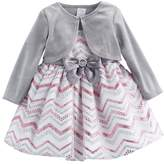 Youngland Baby Girl Glittery Chevron Dress & Velvet Shrug Set