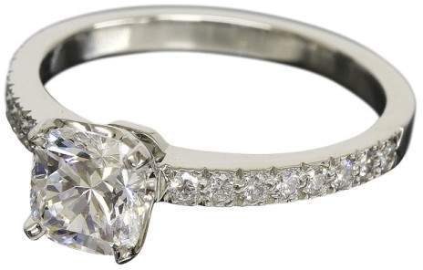 Tiffany & Co. 950 Platinum & 0.93ct Cushion Diamond Ring Size 6