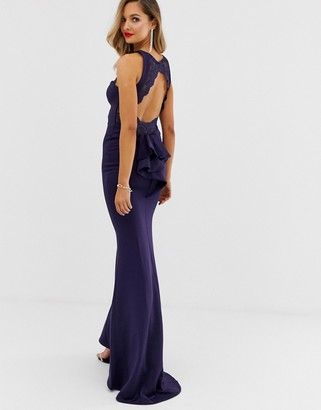 City Goddess lace bodice open back maxi dress