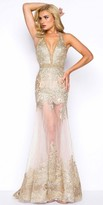 Mac Duggal Deep-V Halter Sheer Illusion Lace Applique Gown
