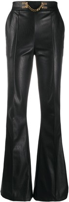 Elisabetta Franchi Flared Leather Trousers