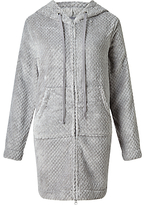 John Lewis Zip Waffle Hooded Dressing Gown, Grey