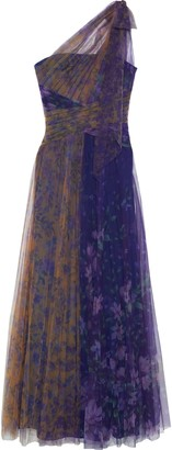 Marchesa One-shoulder Cutout Two-tone Floral-print Plisse-tulle Gown