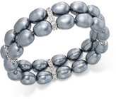 Charter Club Silver-Tone Imitation Pearl Pavé Stretch Bracelet, Only at Macy's