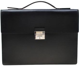 S.t. Dupont Black Leather Line D Gusset Briefcase