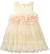 Baby Sara Petal Trim Mesh Stripe Dress (Baby & Toddler Girls)