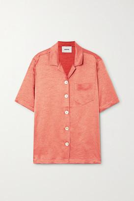 Nanushka Ella Oversized Washed-satin Shirt - Pastel orange