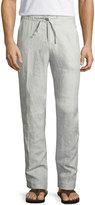 Neiman Marcus Linen Drawstring Pants, Gray