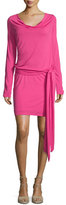 Haute Hippie Cowl-Neck Open-Back Jersey Mini Dress, Bright Pink