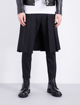 DSQUARED2 Pleated-overlay wool-twill trousers