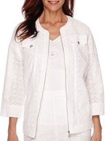 Alfred Dunner White Now 3/4-Sleeve Eyelet Jacket