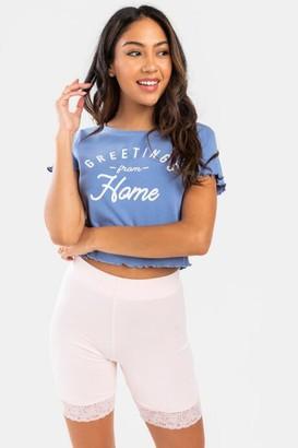 francesca's Teri High Waist Lace Trim Biker Shorts - Pink
