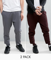 Asos Tapered Joggers 2 Pack Burgundy/ Washed Black Save