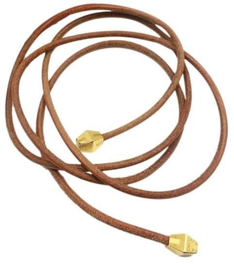 Hermes Gold-Tone Metal & Leather Necklace / Belt