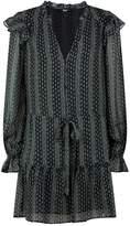 Paige Pomello Floral Silk Dress, Black, XS