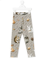 MonnaLisa woodland animal print leggings - kids - Cotton/Spandex/Elastane - 2 yrs