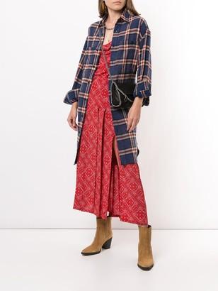 R 13 Drawstring-Waist Plaid Shirtdress