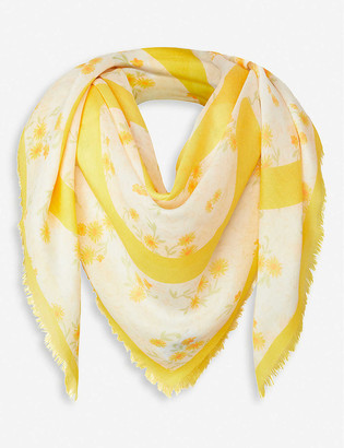 Loewe Anagram floral-print modal and cashmere scarf