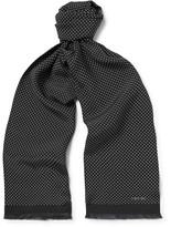 Tom Ford Fringed Polka-Dot Silk Scarf