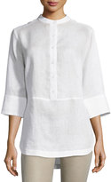 Neiman Marcus Linen 3/4-Sleeve Button-Front Tunic, White