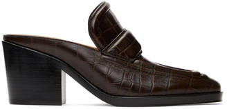 Bottega Veneta Brown Croc Heeled Mules