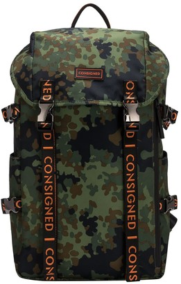 Consigned Torrett Twin Pocketed Flapover Backpack Camo-Orange