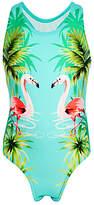 John Lewis Girls' Flamingo Print Swimsuit, Turquoise