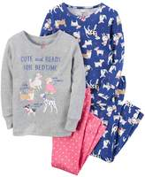 Carter's Girls 4-14 4-pc. Dog Tops & Bottoms Pajama Set