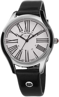 Bruno Magli 36mm Alessia Enamel Watch w/ Patent Leather, Black/Silver