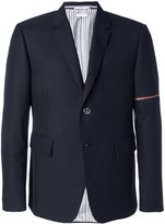 Thom Browne Single Breasted Sport Coat With Red, White And Blue Selvedge In Medium Grey School Uniform Twill