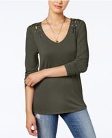 Almost Famous Crave Fame Juniors' Lace-Up Shoulder Top