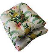 Set of 2 - Universal Tufted U-shape Cushions for Wicker Chair Seat - Tommy Bahama Home Fabric - White Beach Bounty Lush Green - Tropical Bird, Pineapple, Floral