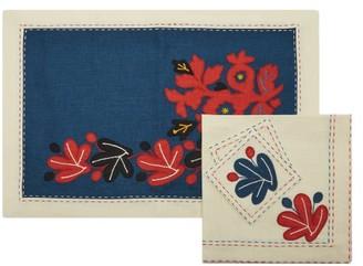 Vita Kin Floral-applique Linen Dining Set - Blue Multi
