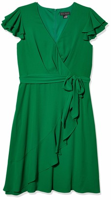 Jessica Howard JessicaHoward Women's Butterfly Sleeve Bodice Dress with Ruffle Faux Wrap Skirt