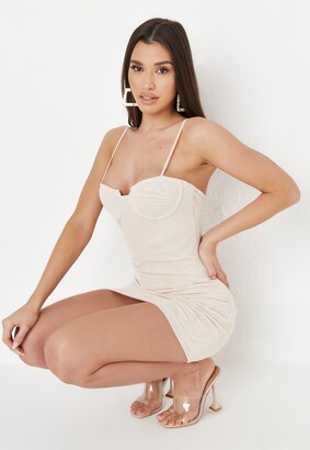 Missguided Taupe Mesh Low Back Mini Dress