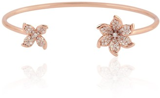Artisan Diamond Flower Cuff Bangle In 18K Rose Gold