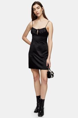 Topshop Womens Tall Black Gathered Bust Midi Slip Dress - Black
