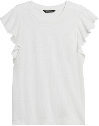 Banana Republic Linen Flutter-Sleeve Top