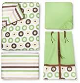 Bacati Crib Bedding Set - 10pc - Green Mod Dots & Stripes