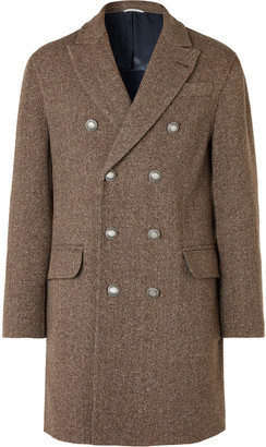 Brunello Cucinelli Double-Breasted Wool And Cashmere-Blend Herringbone Coat