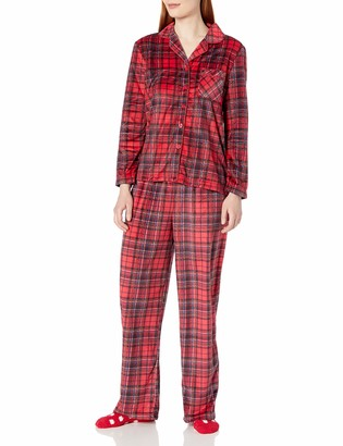 Karen Neuburger Women's Plus Size Long Sleeve Minky Fleece Pajama Set PJ with Socks