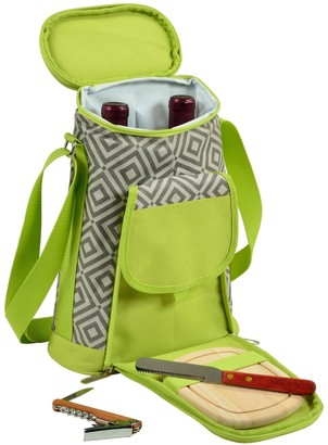 Picnic at Ascot Stylish 2 Bottle Insulated Wine Tote Bag With Cheese Board