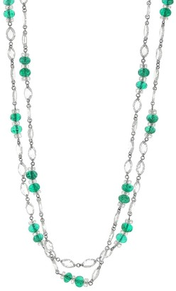 Fred Leighton Rose Cut Diamond and Emerald Bead Necklace