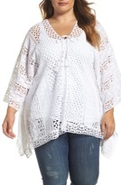 XCVI Plus Size Women's Jace Embroidered Cotton Poncho