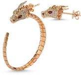 Dragon Optical Selda Jewellery Head White Diamond Hoop Earring With Head White Diamond Stud Earring