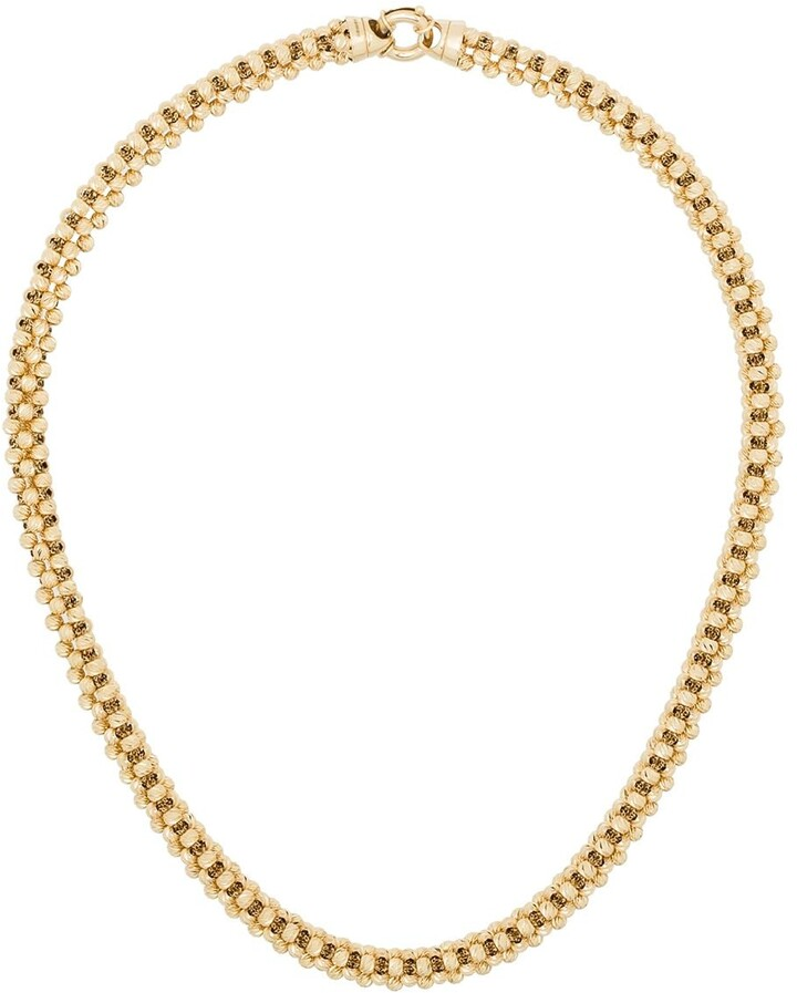 Adina Reyter 14kt Yellow Gold Diamond-Cut Chunky-Chain Necklace