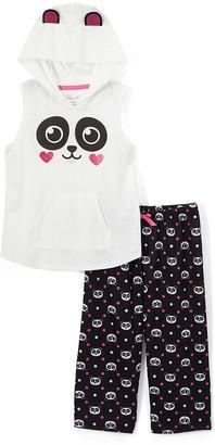 Rene Rofe Girl Girls' Sleep Bottoms ASSTPRINTS - White & Black Panda Capri Pants Pajama Set - Girls