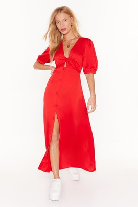 Nasty Gal Womens Cut-Out of Bounds Button-Down Midi Dress - Red - 4